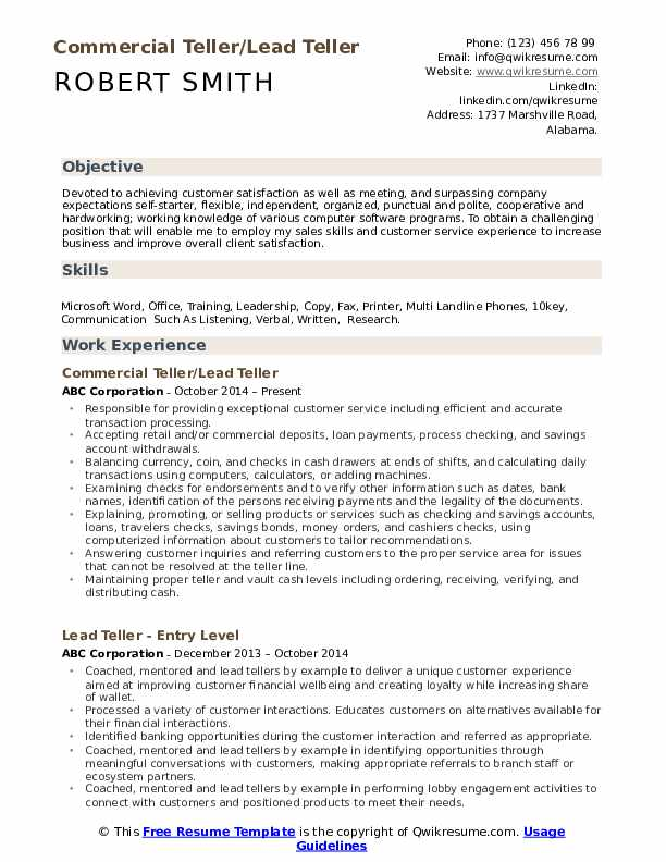 Commercial Teller/Lead Teller Resume Sample
