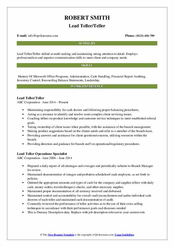 Lead Teller/Teller Resume Example