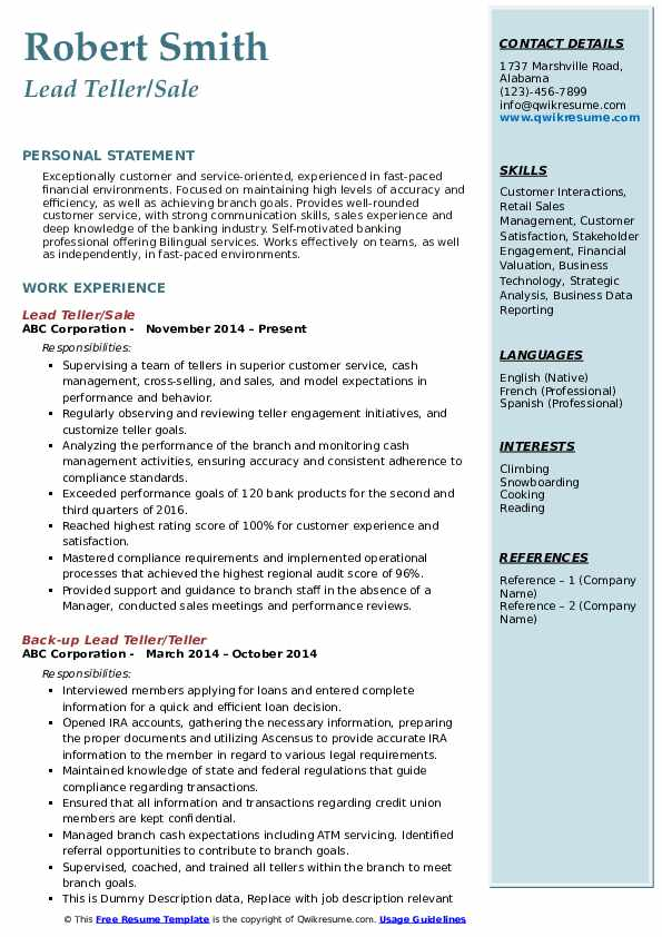 Lead Teller/Sale Resume Model