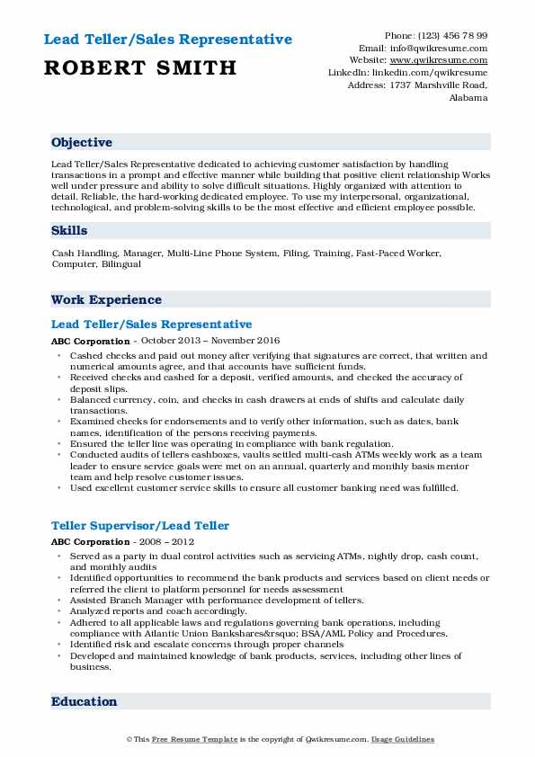 Lead Teller/Sales Representative Resume Format