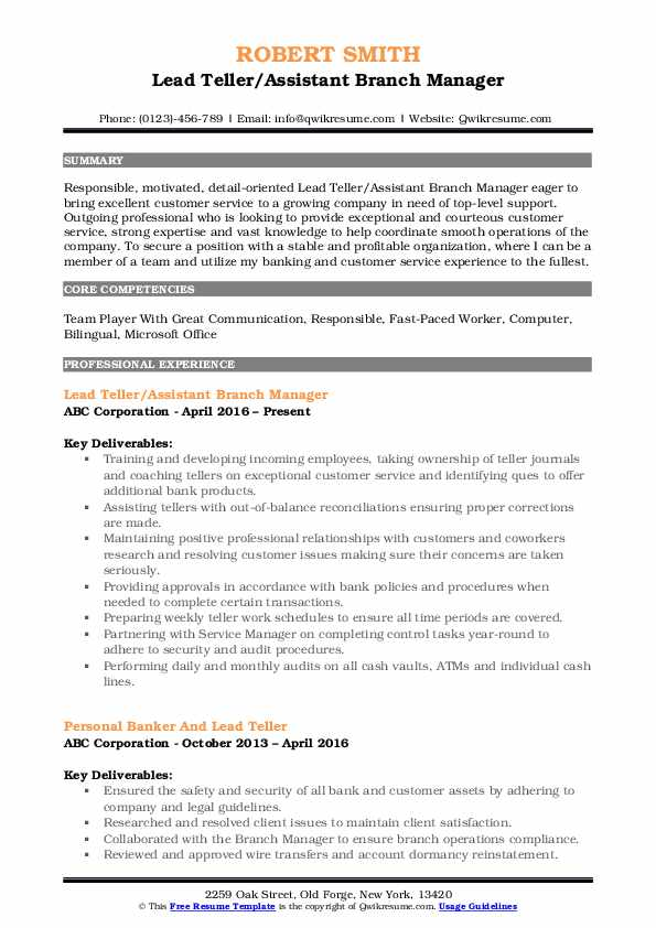 Lead Teller/Assistant Branch Manager Resume Template