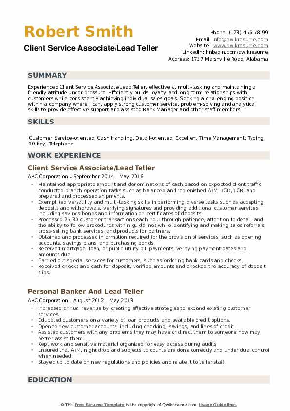 Lead Teller Resume example
