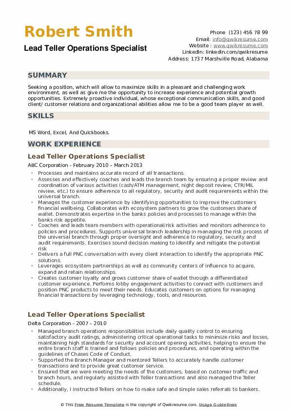 Lead Teller Operations Specialist Resume example