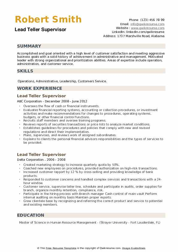 Lead Teller Supervisor Resume example