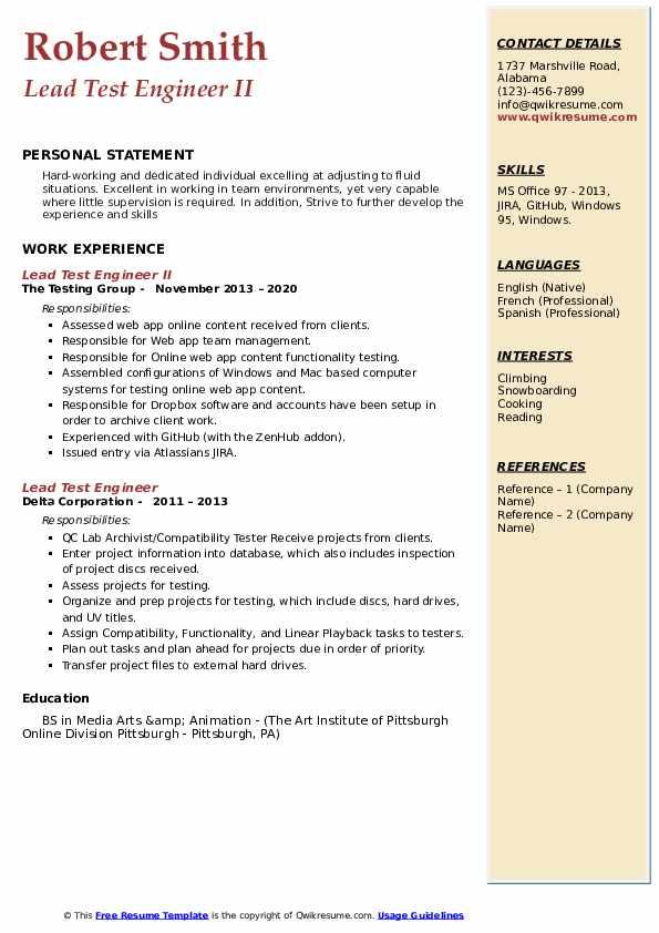 lead test engineer resume samples  qwikresume