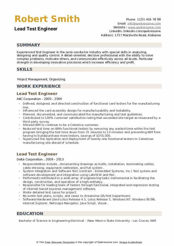 Lead Test Engineer Resume example