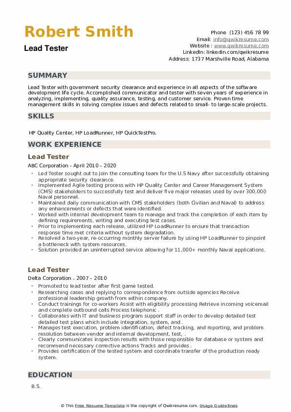 Lead Tester Resume example
