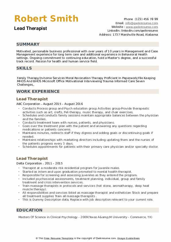 Lead Therapist Resume example