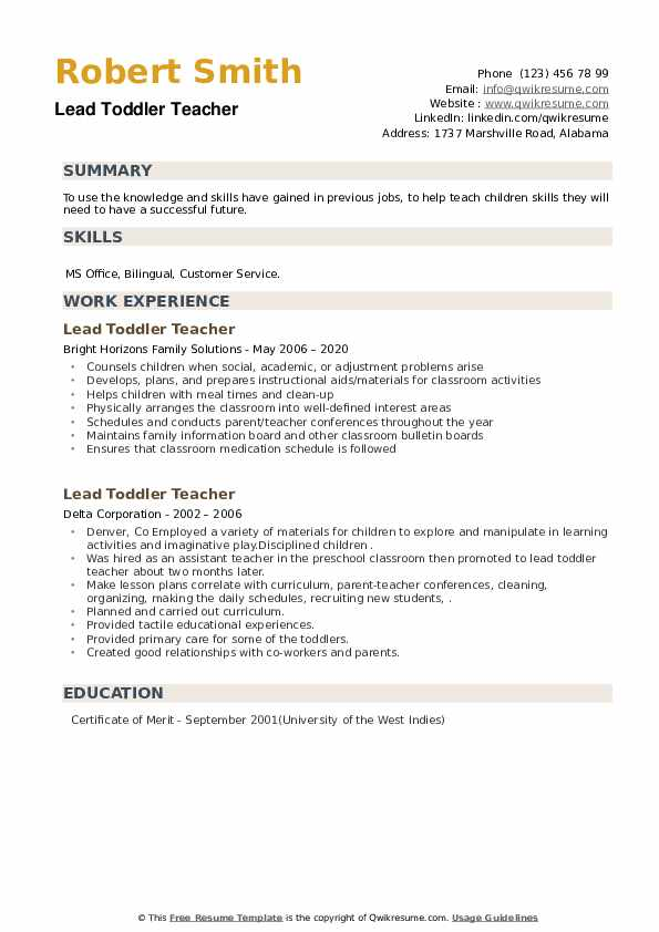 Lead Toddler Teacher Resume example