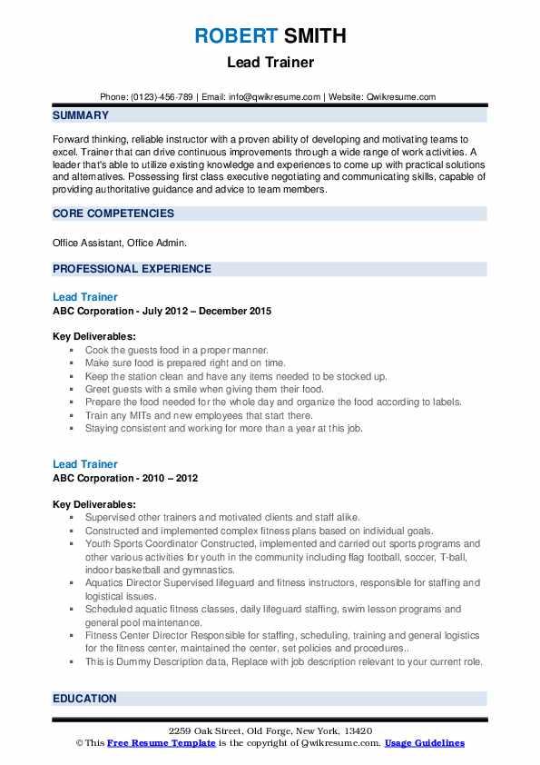 Lead Trainer Resume example