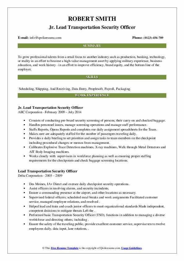 lead transportation security officer resume samples