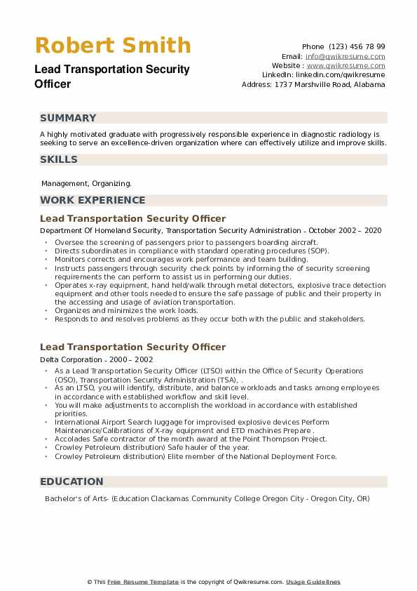 Lead Transportation Security Officer Resume example