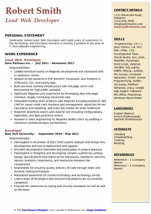 Lead  Web  Developer  Resume Model
