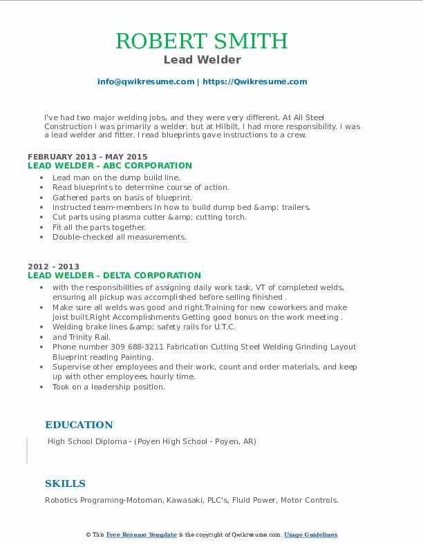 Lead Welder Resume example