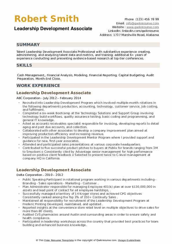 Leadership Development Associate Resume example