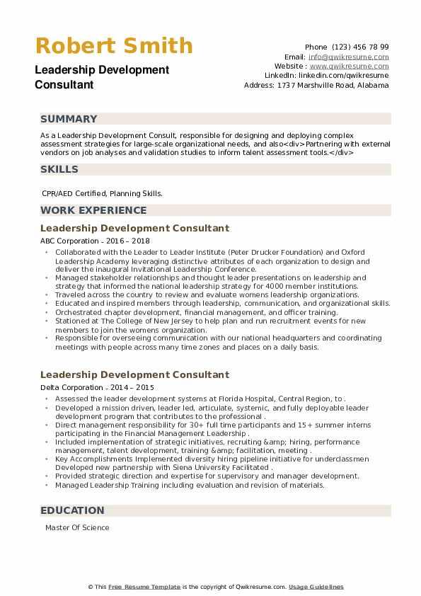Leadership Development Consultant Resume example