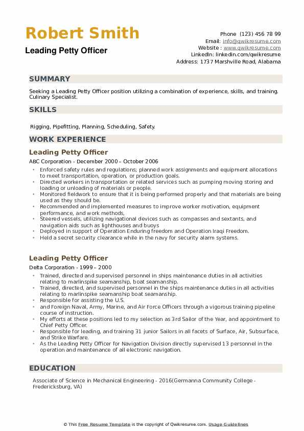 Leading Petty Officer Resume example