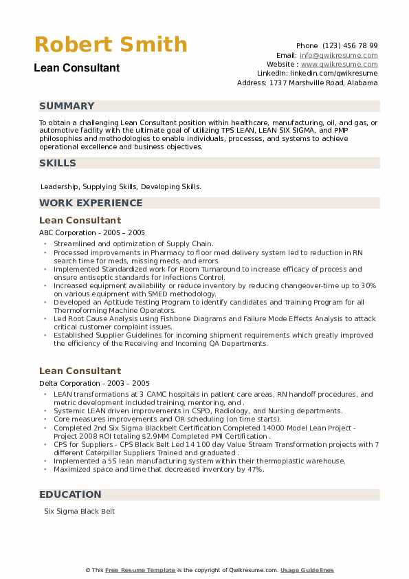 Lean Consultant Resume example