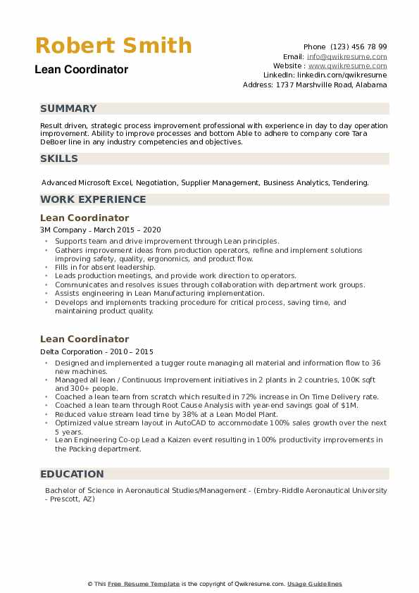 Lean Coordinator Resume example