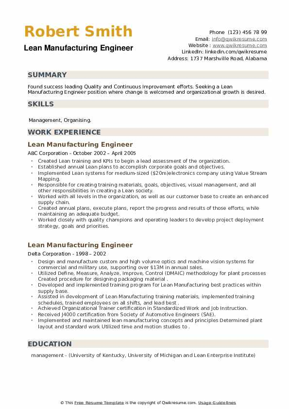 Lean Manufacturing Engineer Resume example