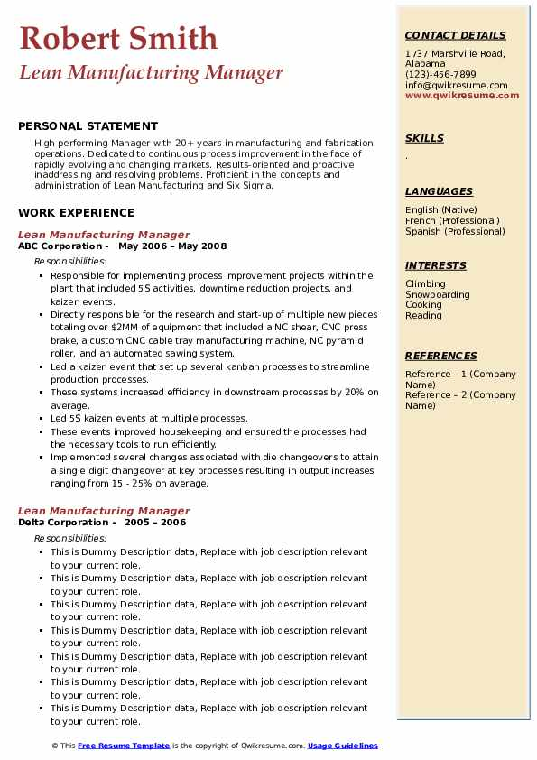 Lean Manufacturing Manager Resume example