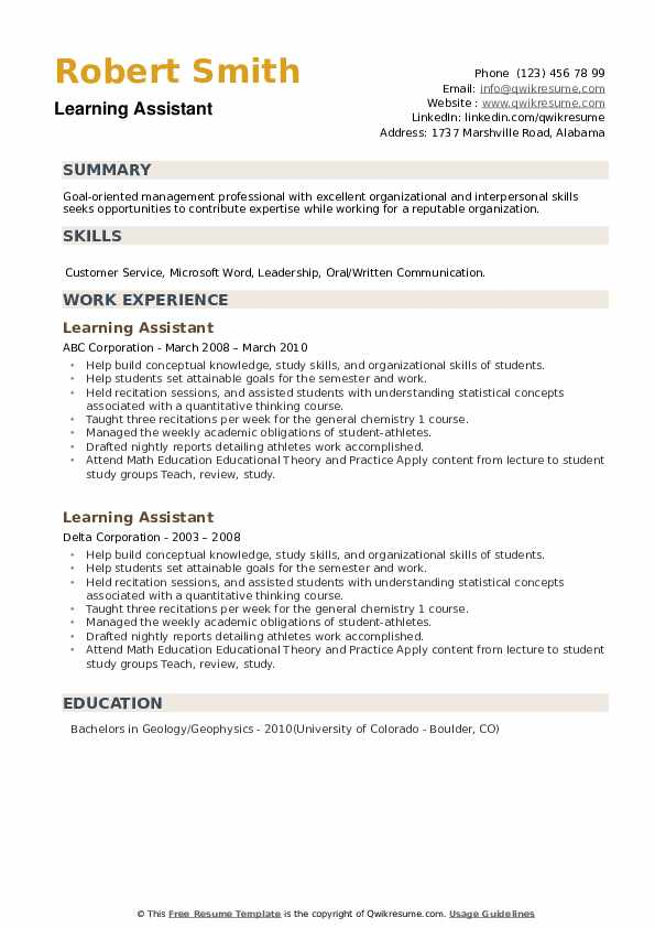 Learning Assistant Resume example