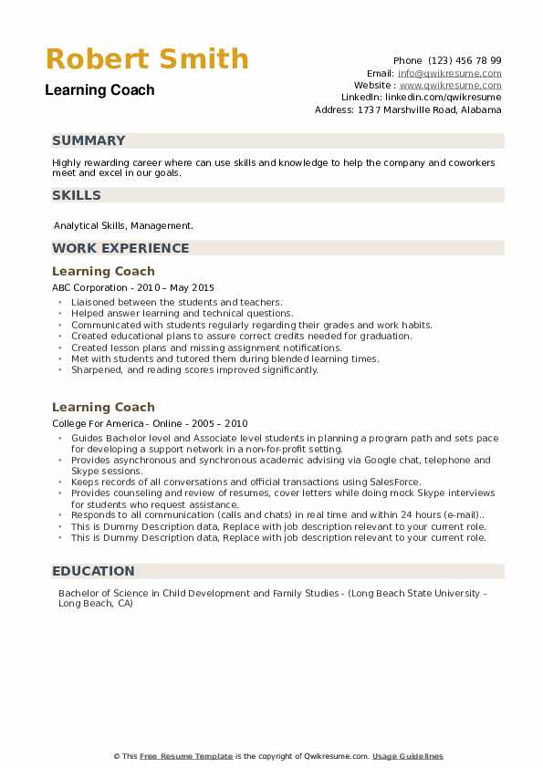 Learning Coach Resume example