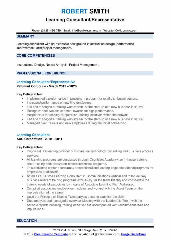 learning consultant resume samples