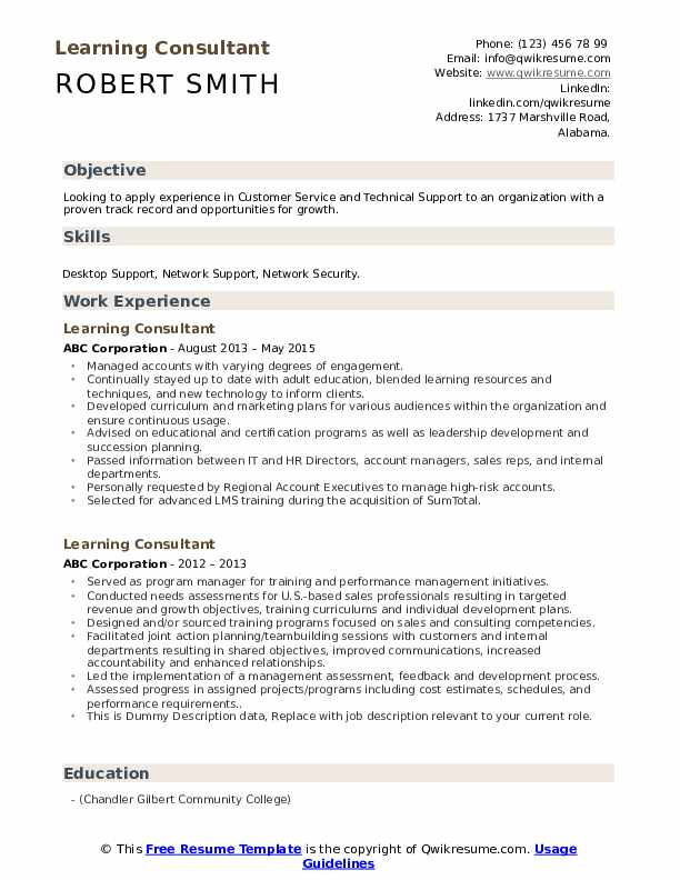 Learning Consultant Resume example
