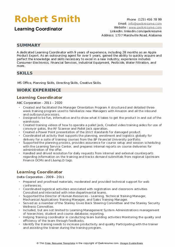 Learning Coordinator Resume example