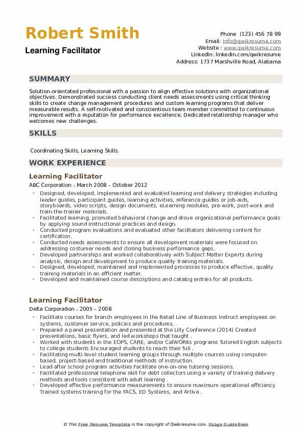 Learning Facilitator Resume example