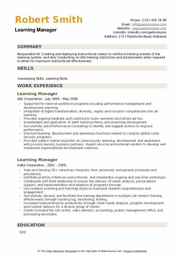 Learning Manager Resume example