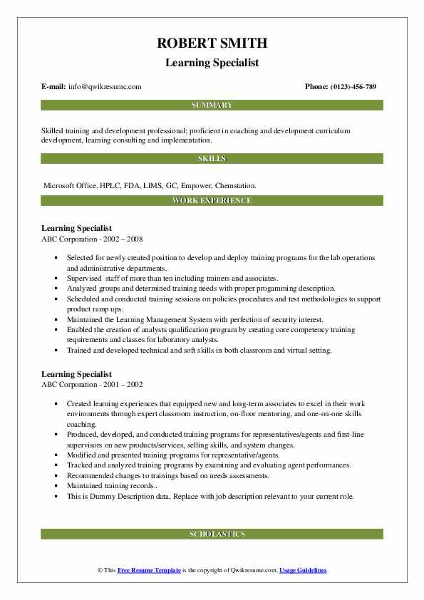 Learning Specialist Resume example
