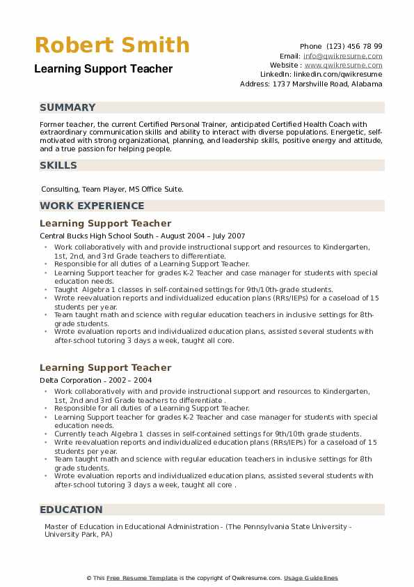 Learning Support Teacher Resume example
