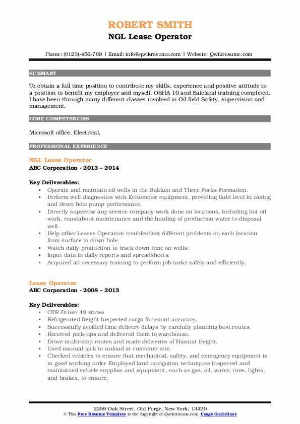 Lease Operator Resume Samples Qwikresume