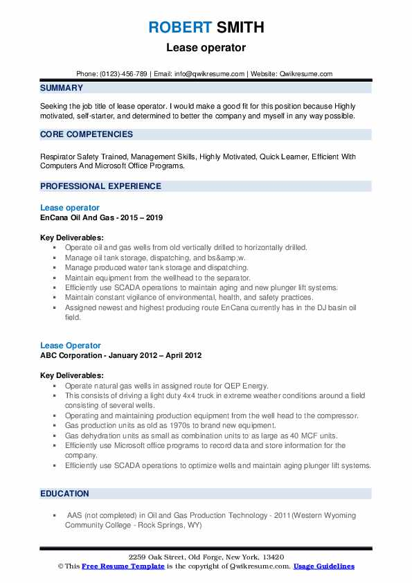Lease Operator Resume example