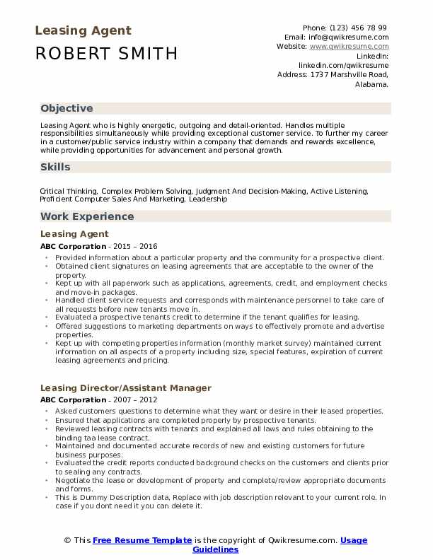 Leasing Agent Resume Samples Qwikresume