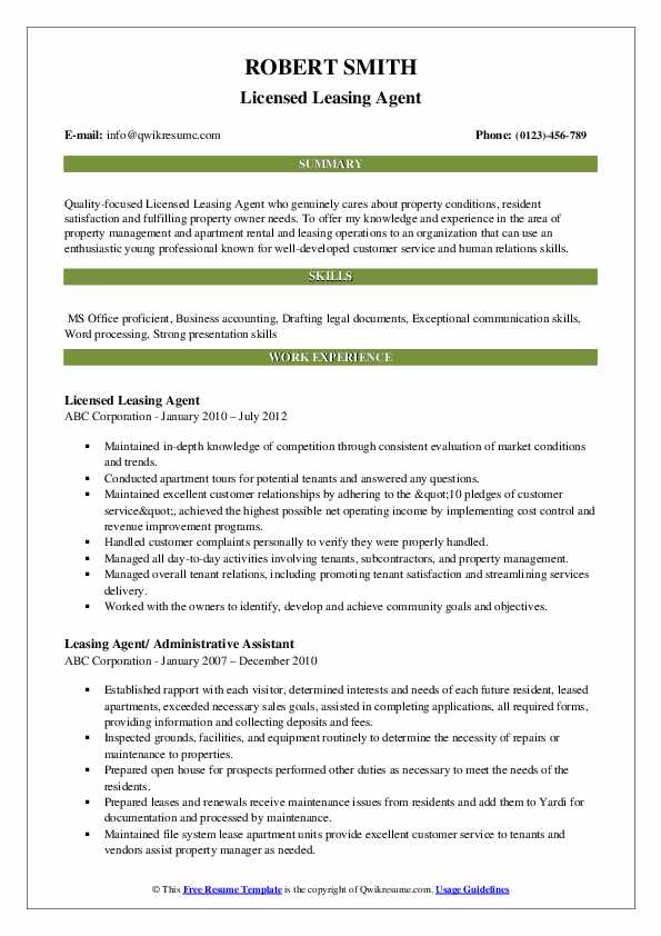 leasing agent resume samples
