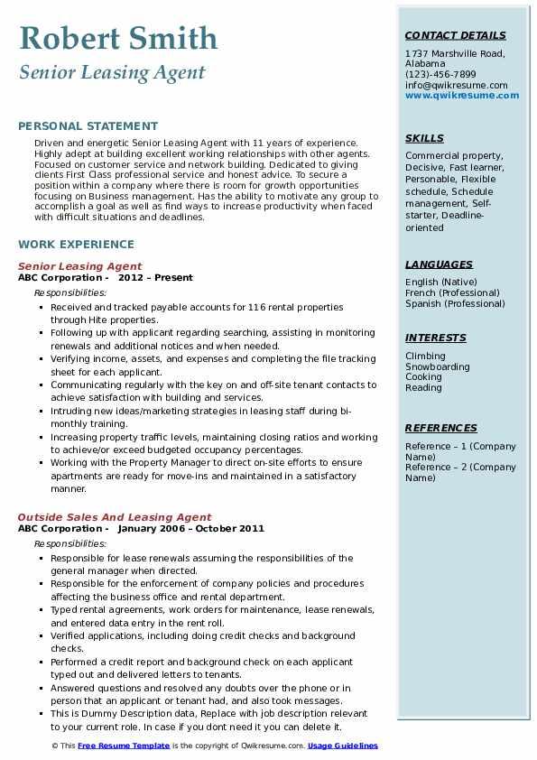 Senior Leasing Agent Resume Example