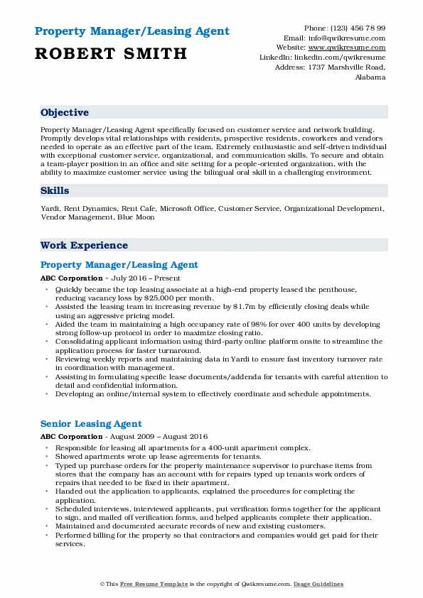 Property Manager/Leasing Agent Resume Example