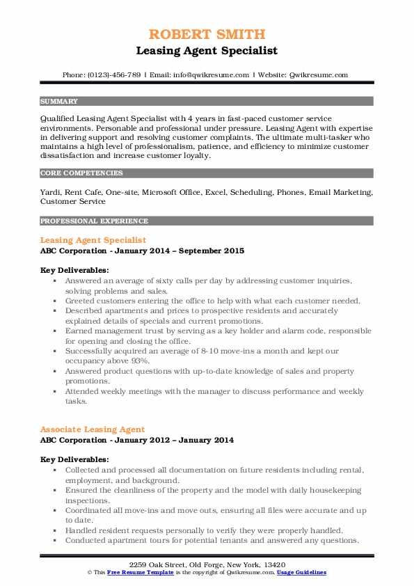 Leasing Agent Specialist Resume Format