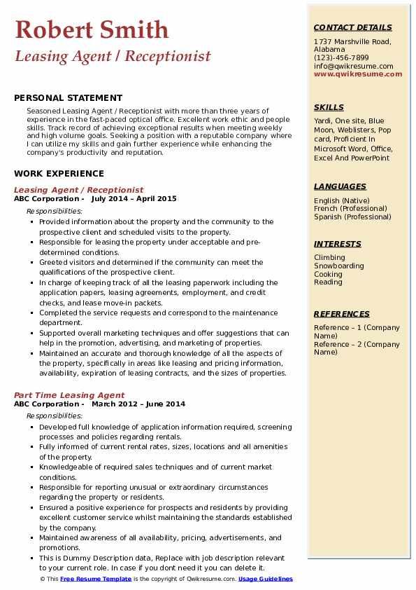 Leasing Agent / Receptionist Resume Example