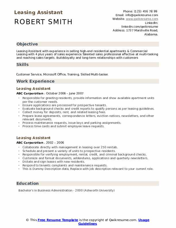 Leasing Assistant Resume example