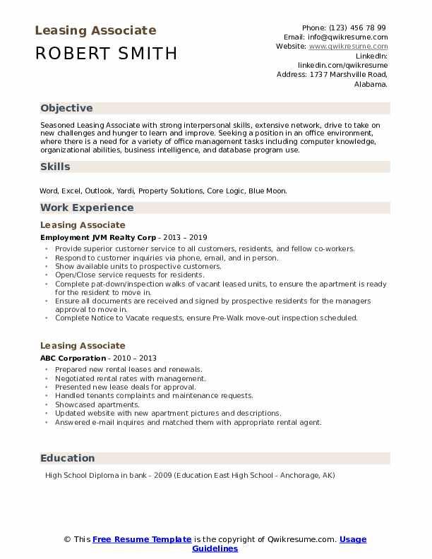 Leasing Associate Resume example