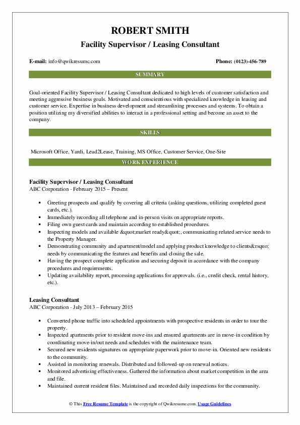 Leasing Consultant Resume Samples Qwikresume
