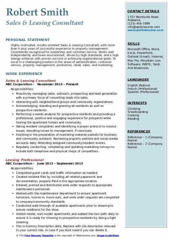 Sales & Leasing Consultant Resume Example