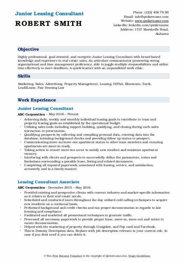 Junior Leasing Consultant Resume Example