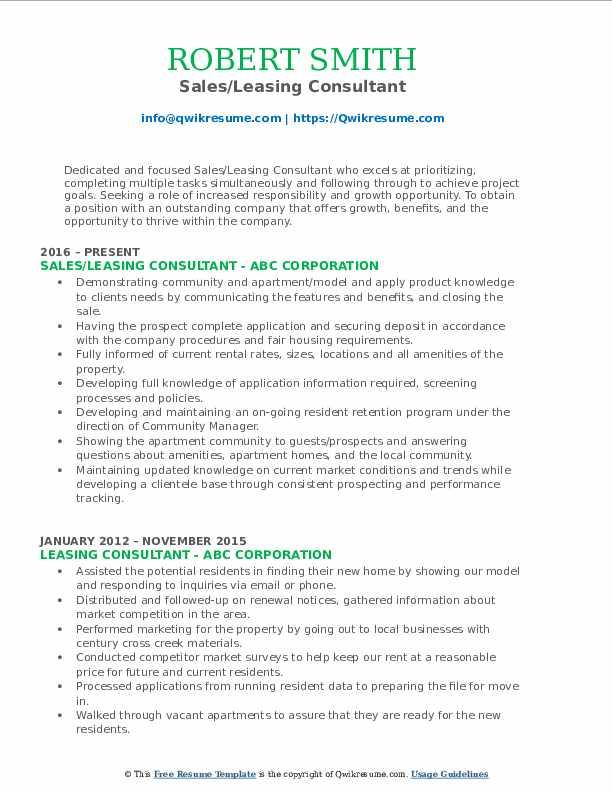 Sales/Leasing Consultant Resume Template