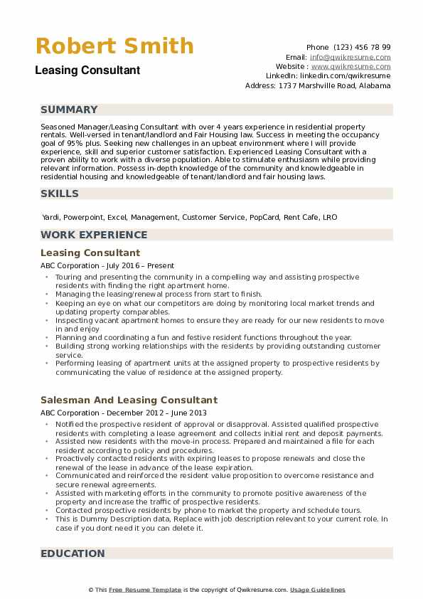 Leasing Consultant Resume example