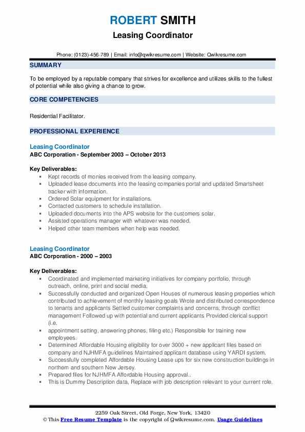 Leasing Coordinator Resume example